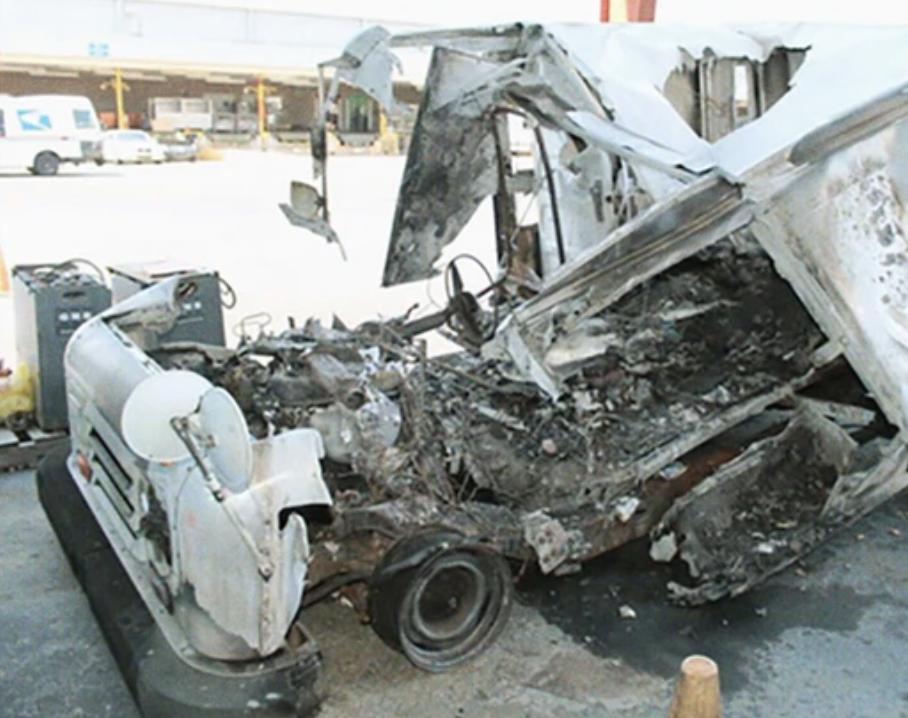 burned up usps mail truck