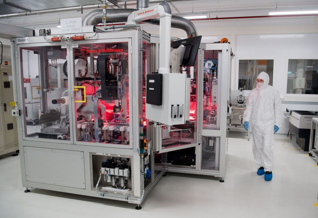 Volkswagen's clean room for producing electric car battery cells