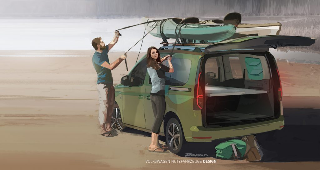 A young couple straps down a kayak to the top rack of a Volkswagen Caddy camper.