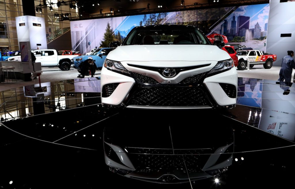 The white precursor to the 2020 Avalon on display at the 110th Annual Chicago Auto Show