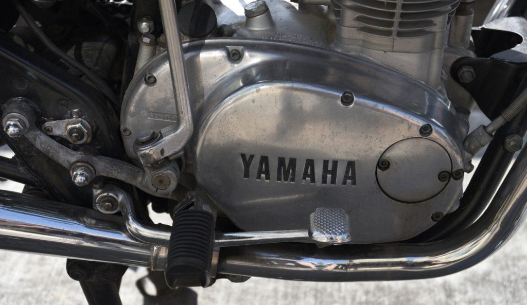 A close up shot of a Yamaha motorcycle engine