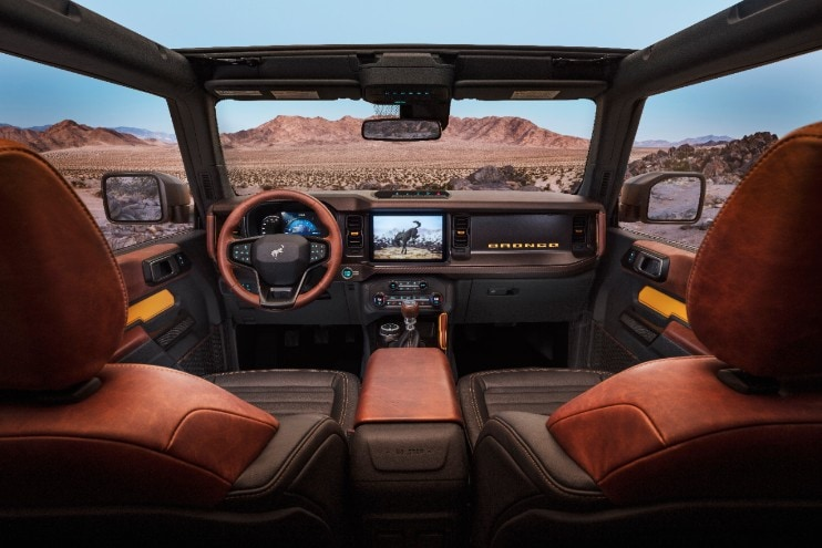 2021 Ford Bronco interior view out to the desert