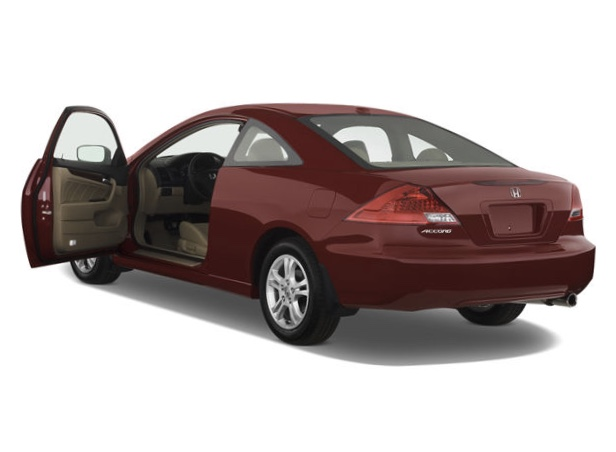 a red Honda Accord 2007 model year with the driver's side door open