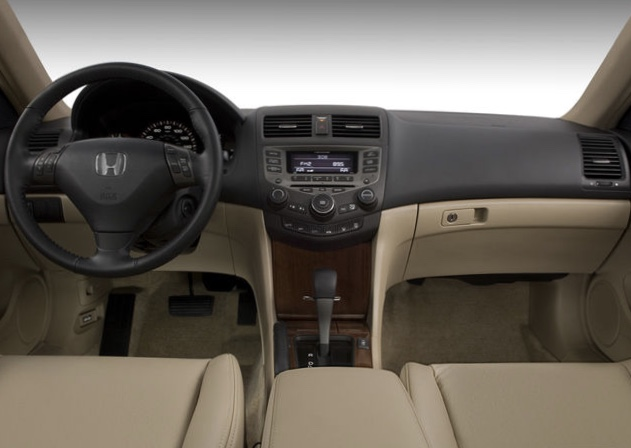 dash view of a high trim  level 2007 Honda Accord with luxurious leather and wood detail