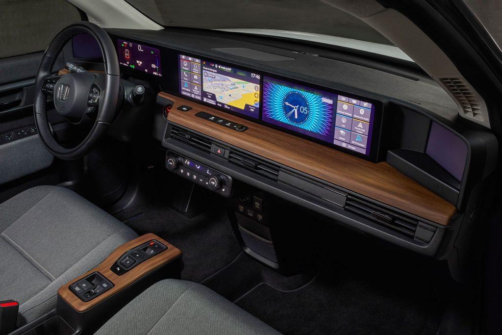 in-cabin shot of the Honda E