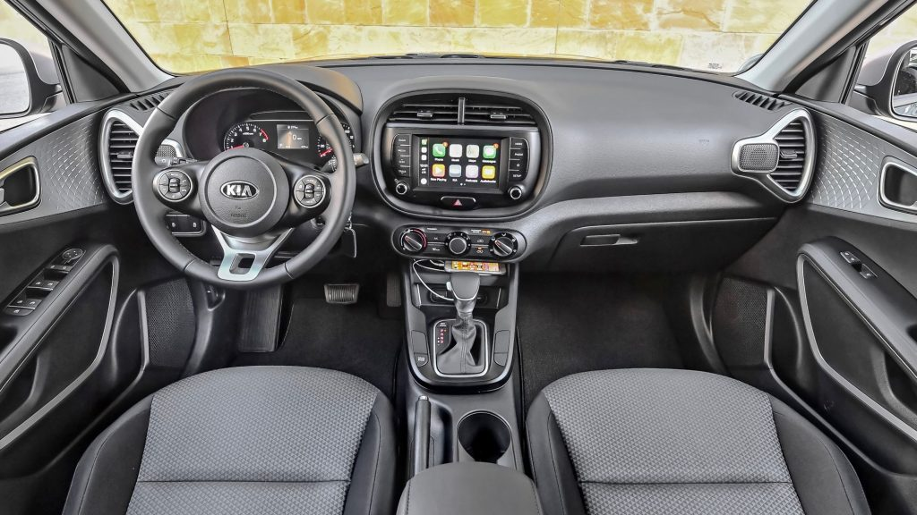 The Kia Soul S features upscale cloth interior trimmings.