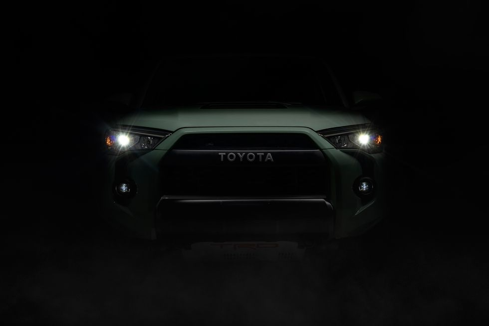 the new Toyota 4Runner LED headlights illuminating a pitch black dark