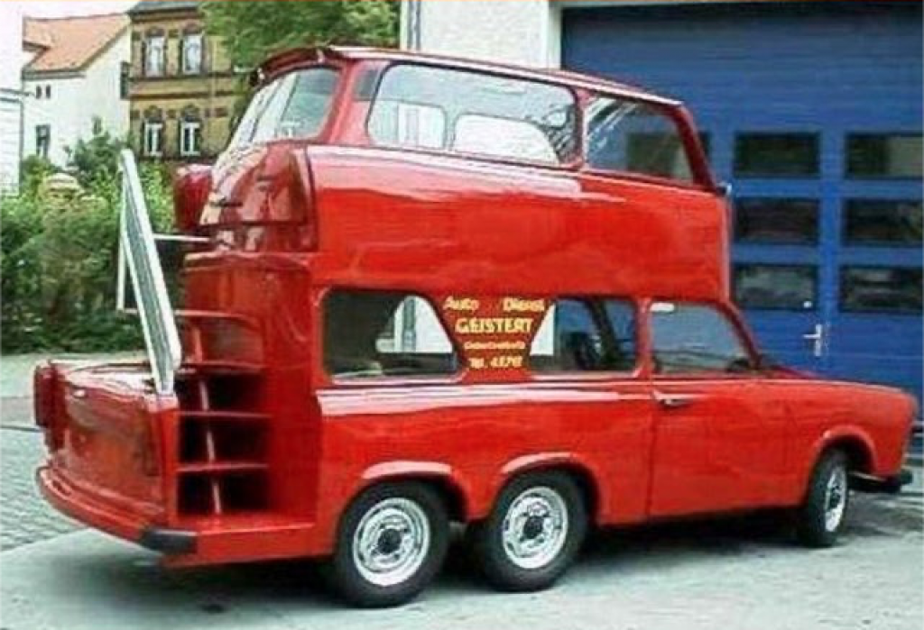 red Trabant with second body stacked on top