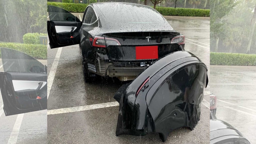 Tesla Model 3 rear bumper torn off