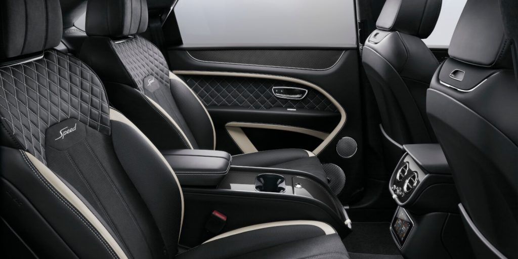 Rear interior of new Bentley Bentayga Speed.