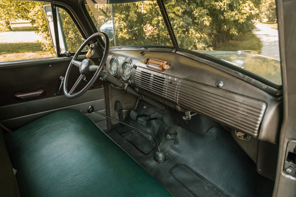 The truck cab of Steve McQueen's pickup truck camper.