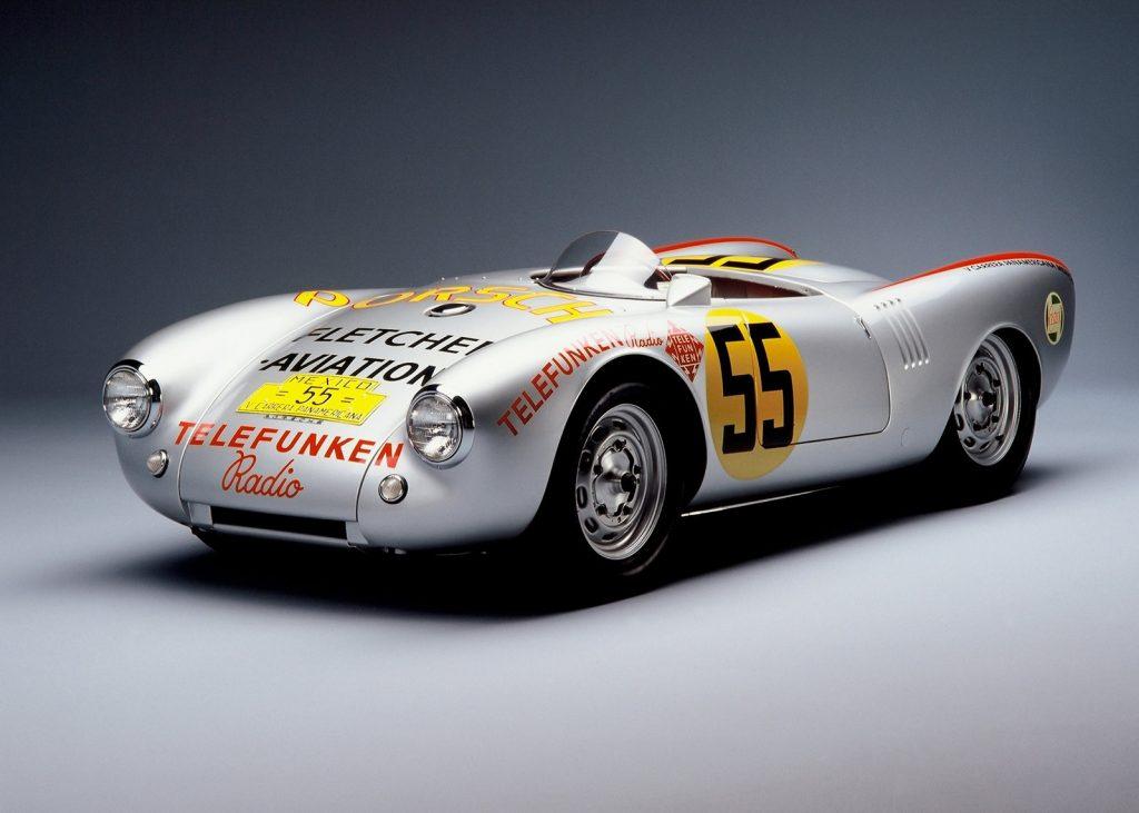 A silver sticker-clad 1953 Porsche 550 Spyder