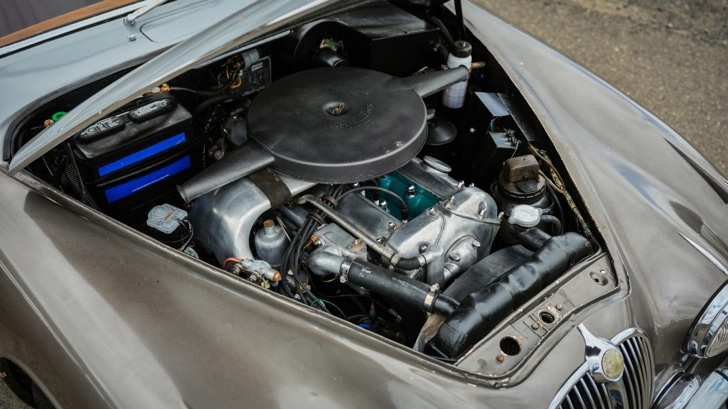 A shot of a 3.8-liter-equipped 1964 Jaguar Mk2's engine bay