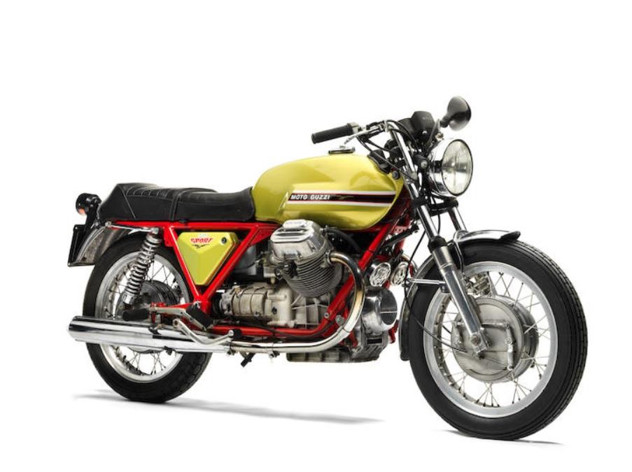 A green-tanked red-frame 1971 Moto Guzzi V7 Sport Telaio Rosso