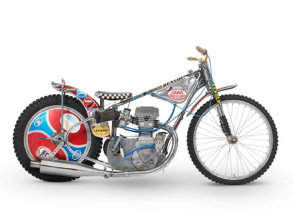 The silver 1977 Jawa 500 DOHC Speedway Racer raced by Ivan Mauger
