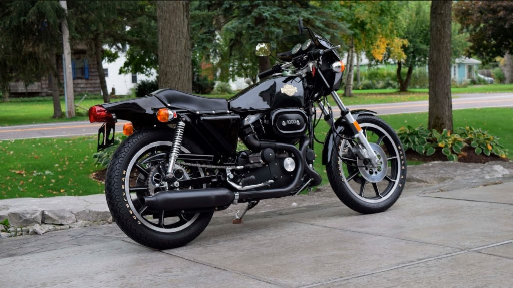 A side-rear angle view of a 1978 Harley-Davidson XLCR