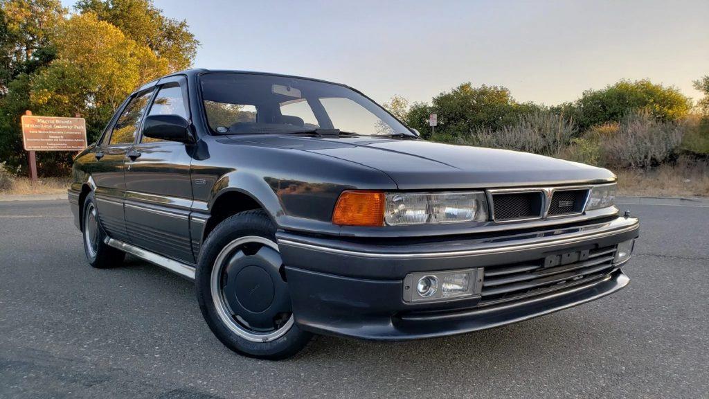A black 1991 Mitsubishi Galant AMG Type II