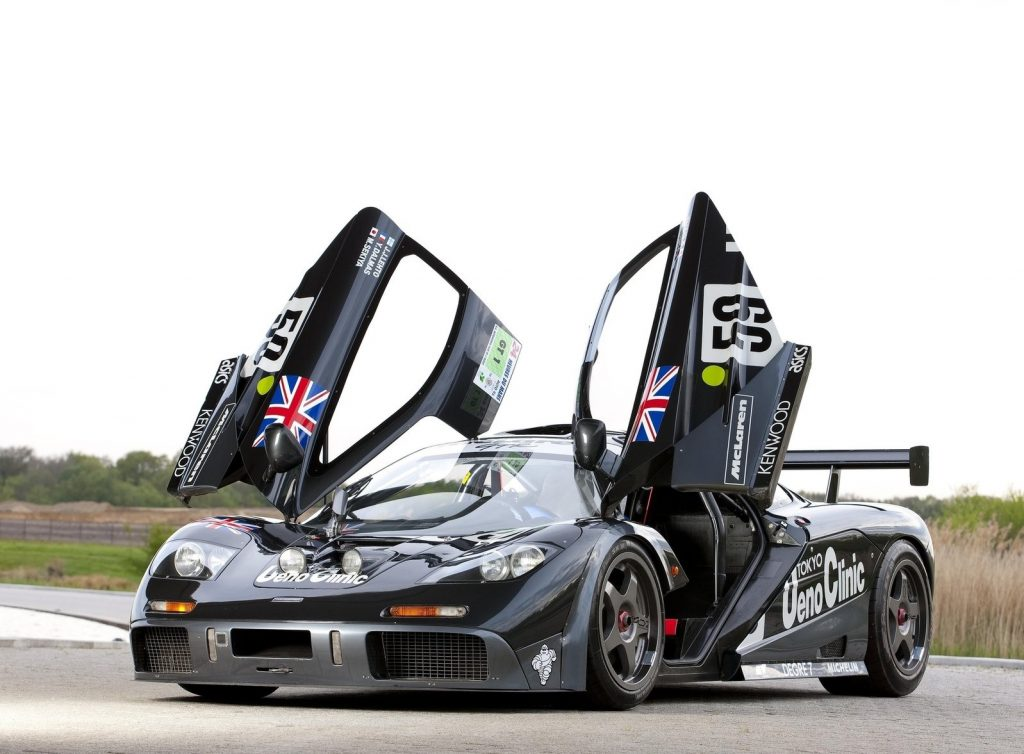The black 1995 Lazante Ueno Clinic McLaren F1 GTR with its doors raised
