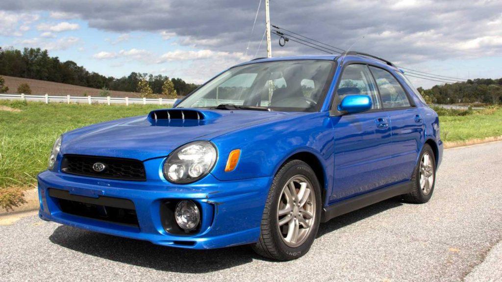 a blue used Subaru Impreza WRX wagon
