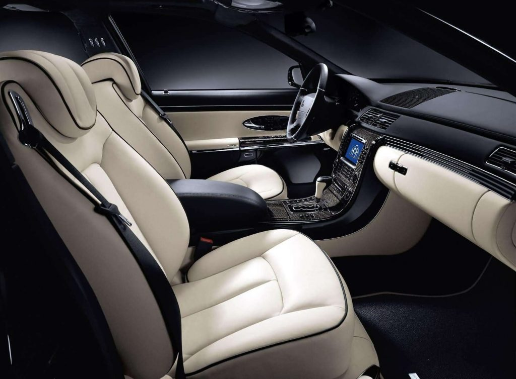 A white-leather and carbon-fiber-trimmed 2005 Maybach 57s interior