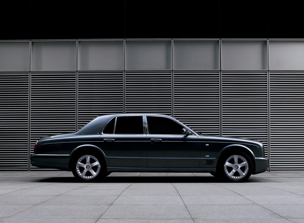 Side view of a black 2007 Bentley Arnage