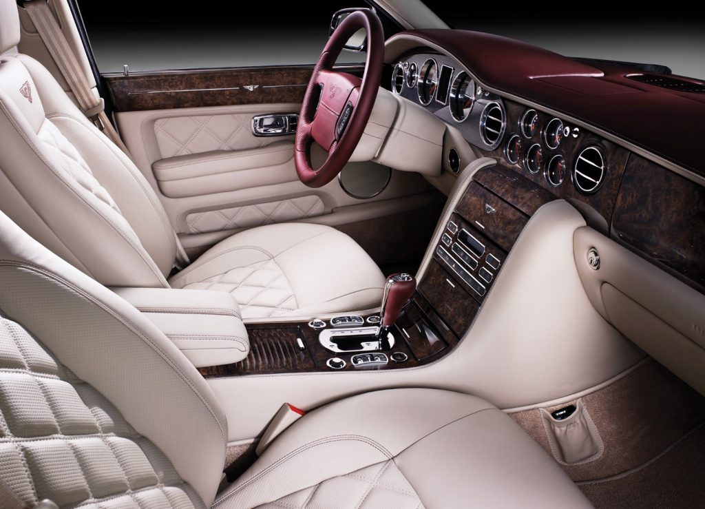 The white-leather wood-lined interior of the 2009 Bentley Arnage Final Series