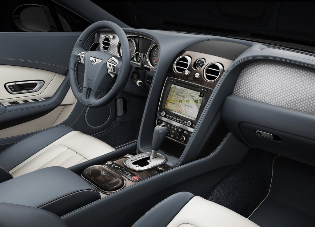 A blue-and-gray version of the 2013 Bentley Continental GT V8's interior