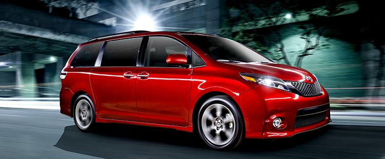 2015 Toyota Sienna, red model in a press photo