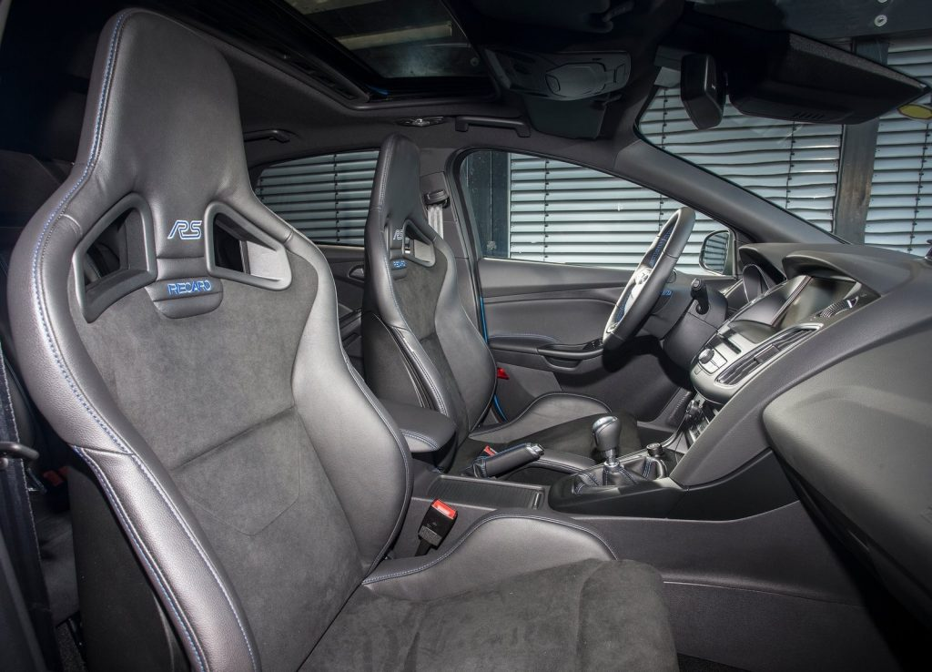 The 2016 Ford Focus RS' interior with Recaro sport seats