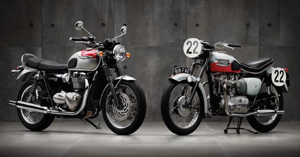 A white-and-red 2016 Triumph Bonneville T120 next to a red-and-white 1959 Triumph Bonneville T120