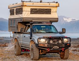 Toyota Tacoma pop-up truck camper custom built on a 2002 Toyota Tacoma pickup truck