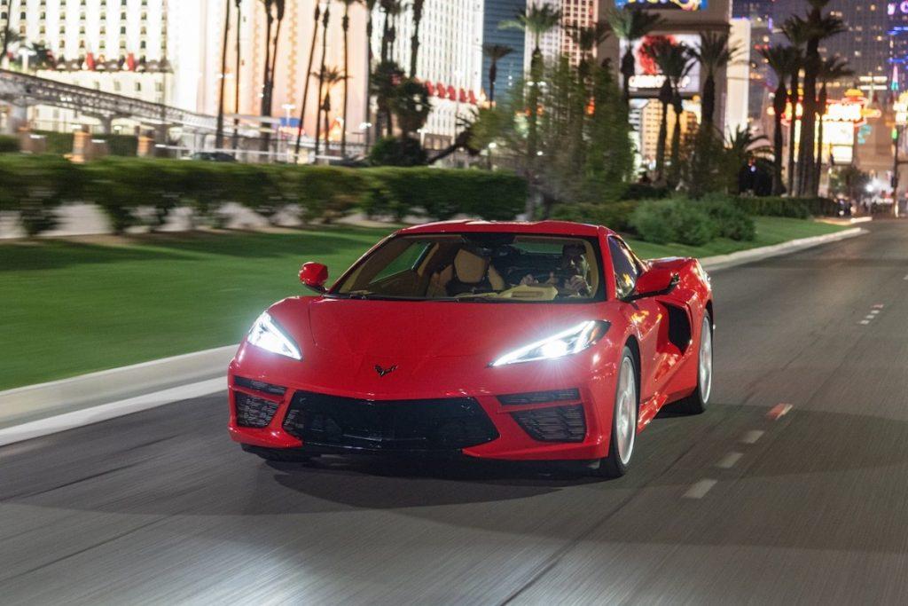 2020 Chevrolet Corvette Stingray driving down the Las Vegas strip