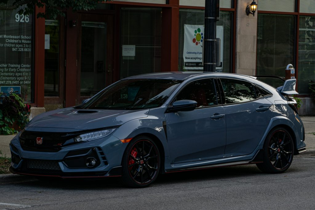 A gray 2020 Honda Civic Type R on a city street