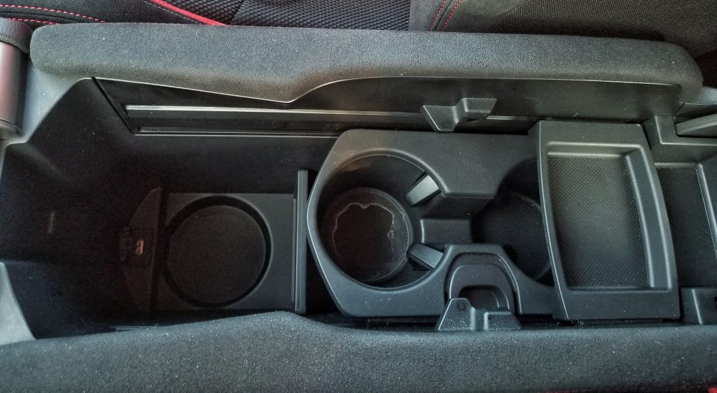 The inner details of the 2020 Honda Civic Type R's center armrest
