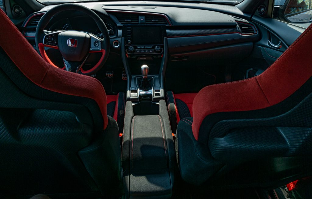 The 2020 Honda Civic Type R's interior seen from the backseat