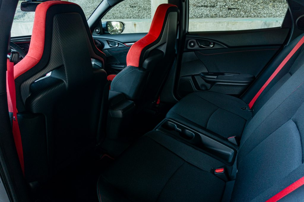 The rear seats of a 2020 Honda Civic Type R
