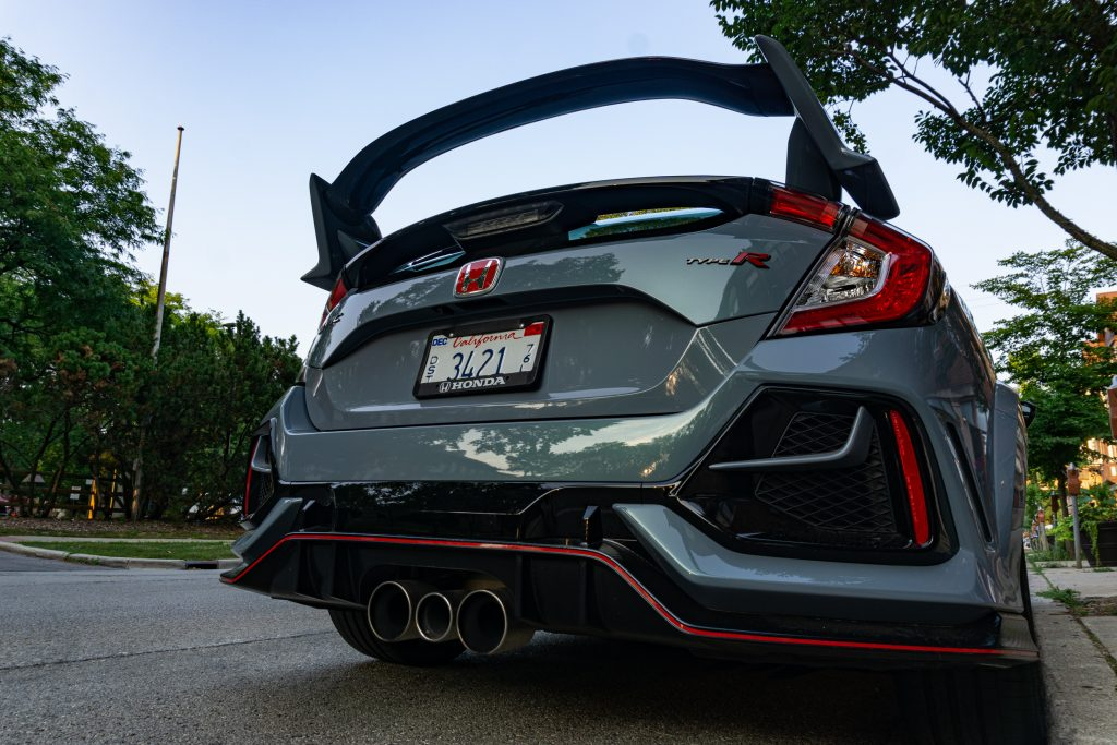 A low-angle shot of the 2020 Honda Civic Type R's wing