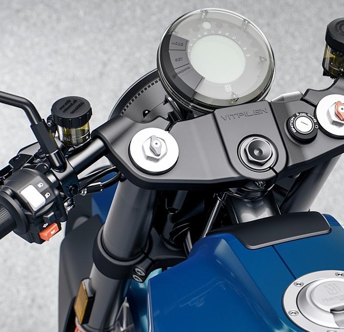 A close-up shot of the 2020 Husqvarna Vitpilen 701's LCD gauge and handlebars