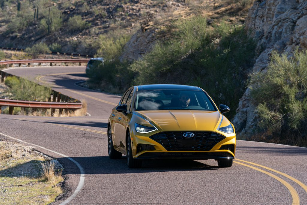 2020 Hyundai Sonata driving through a desert road