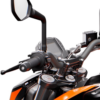 A close-up view of the 2020 KTM 200 Duke's LCD and handlebars