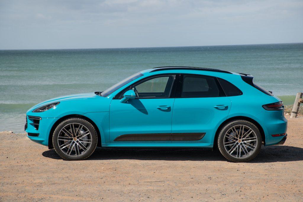 2020 Porsche Macan Turbo at the beach shore