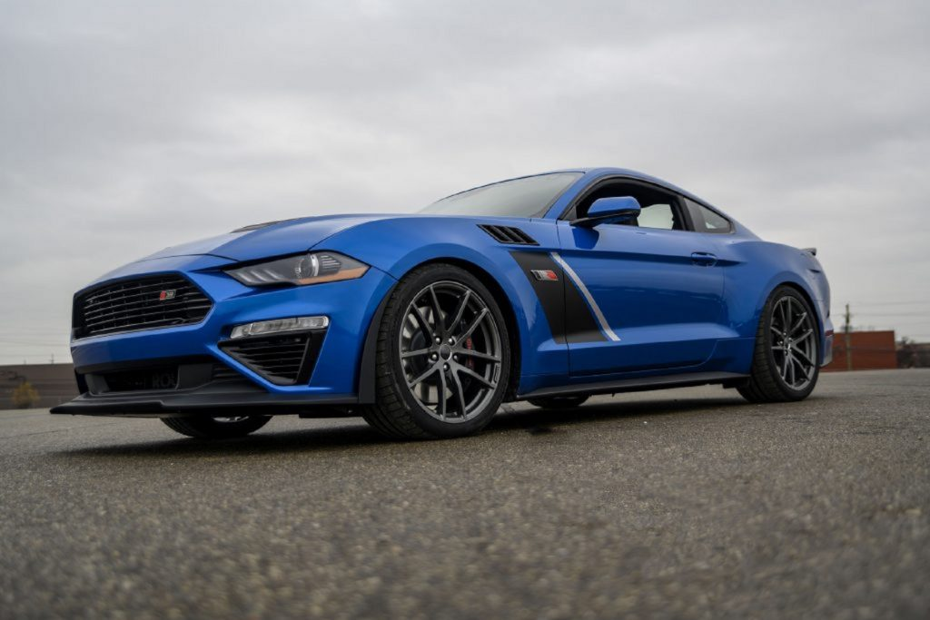 A blue-with-black-stripes 2020 Roush Stage 3 Mustang