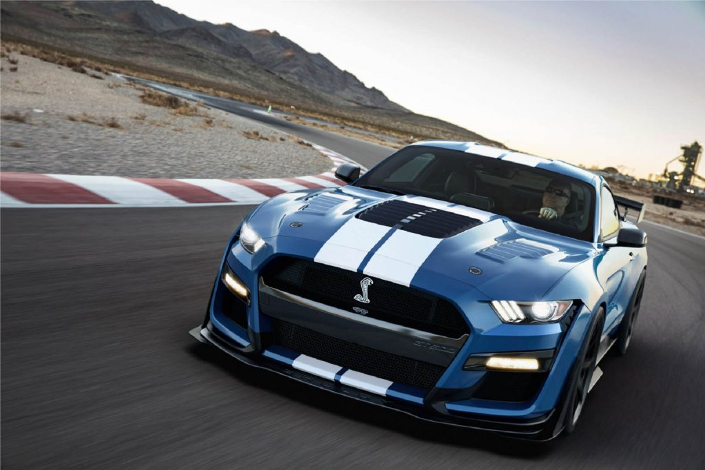 A blue-with-white-stripes 2020 Shelby American Ford Mustang GT500 Special Edition on a racetrack