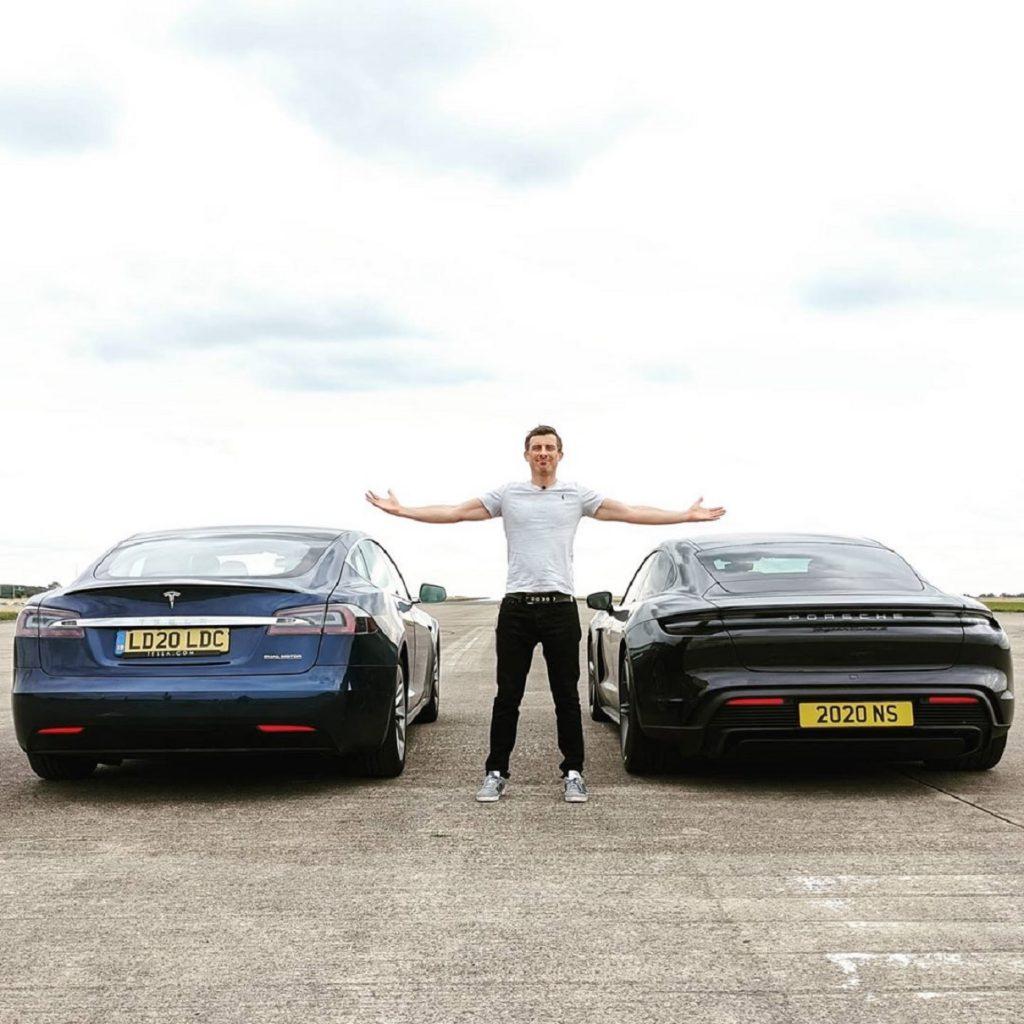 A blue 2020 Tesla Model S Performance Cheetah Mode vs. a black 2020 Porsche Taycan Turbo S