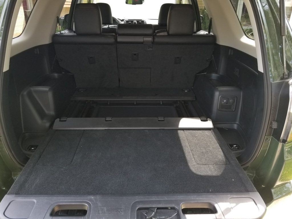 The 2020 Toyota 4Runner TRD Pro's rear cargo area, with its sliding section extended
