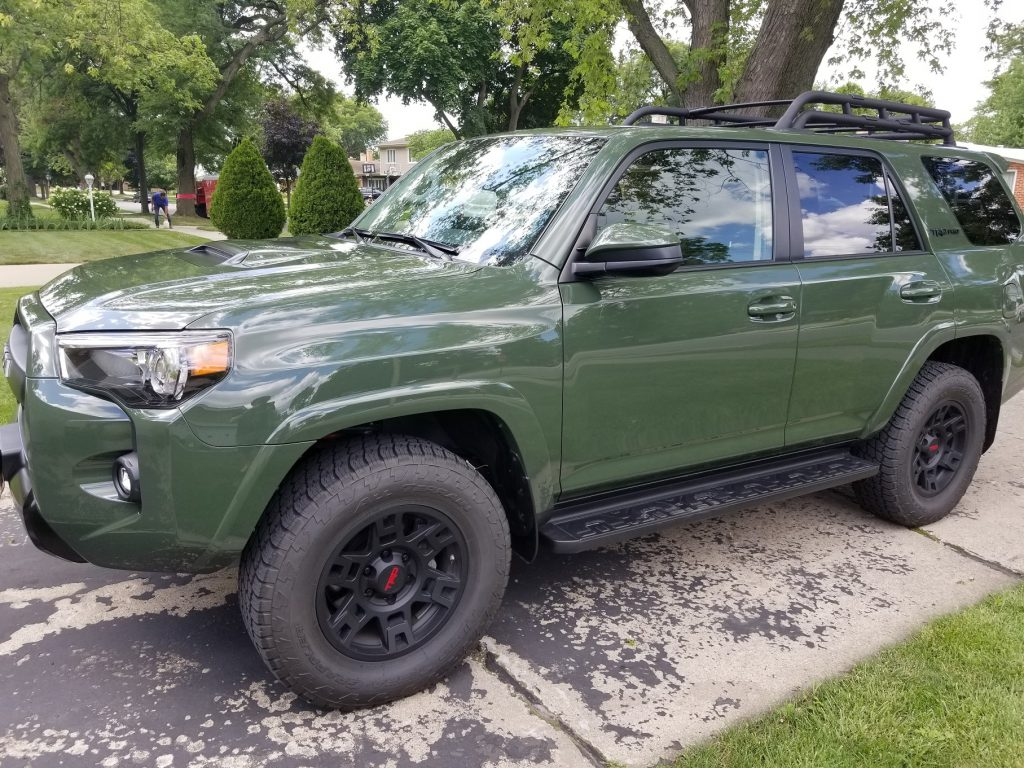 The side view of a green 2020 Toyota 4Runner TRD Pro