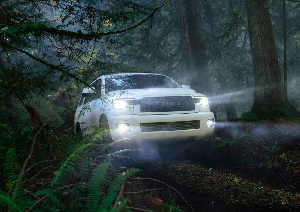 2020 Toyota Sequoia driving through a misty forest with headlights on