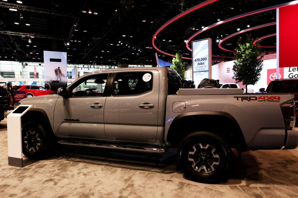 A new Toyota Tacoma on display at an auto show