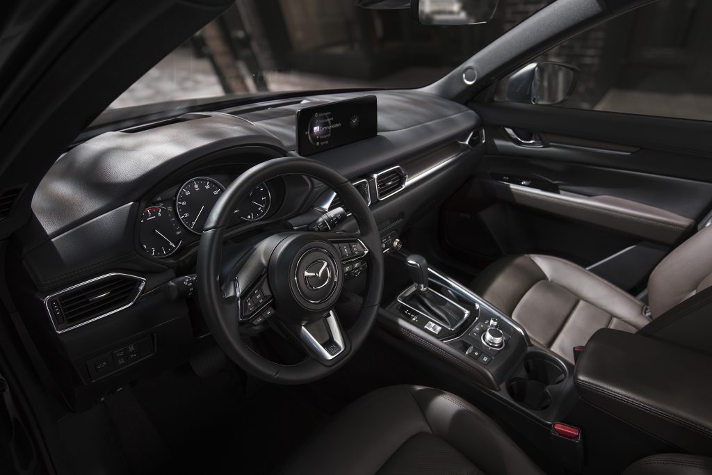 The inside of the 2021 CX-5 offers a bold color scheme.