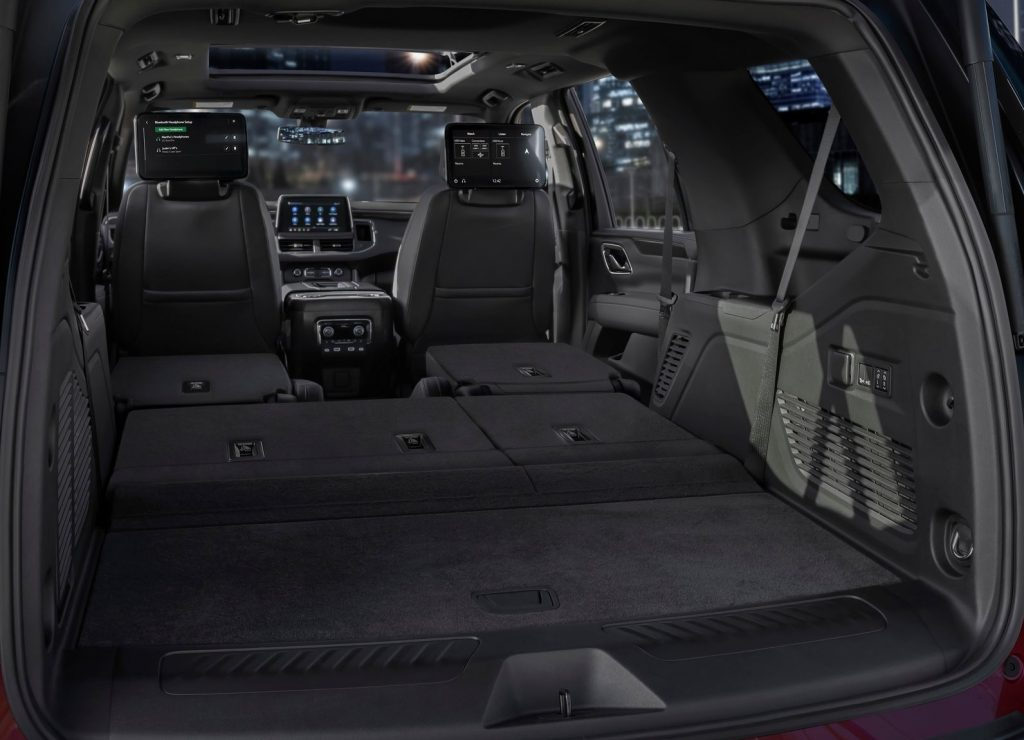 The 2021 Chevy Tahoe's interior and rear cargo area, with the 2nd- and 3rd-row seats folded